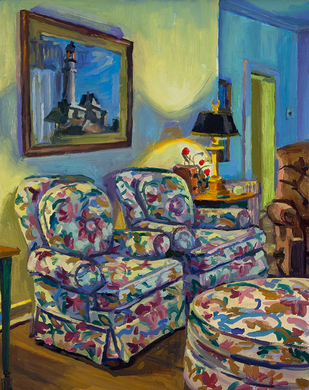 "Apartment Pillow Chairs, oil on wood, 10"" x 8"", 2014"
