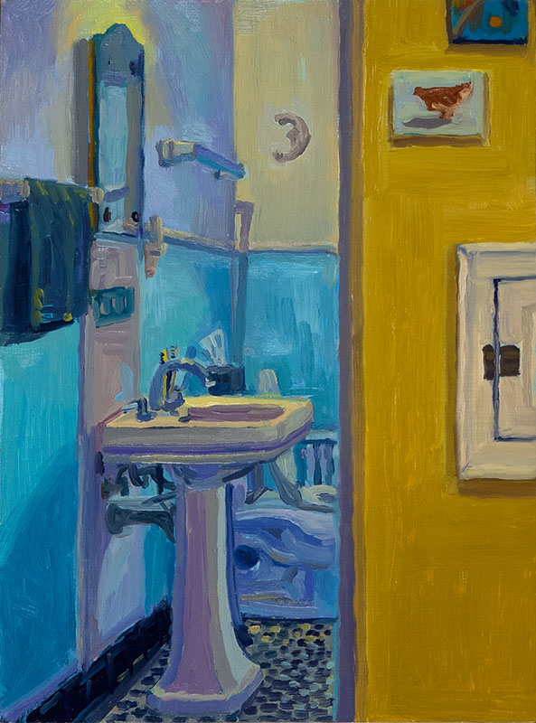 "Bathroom and Laundry Shoot, oil on wood, 8"" x 6"", 2014"