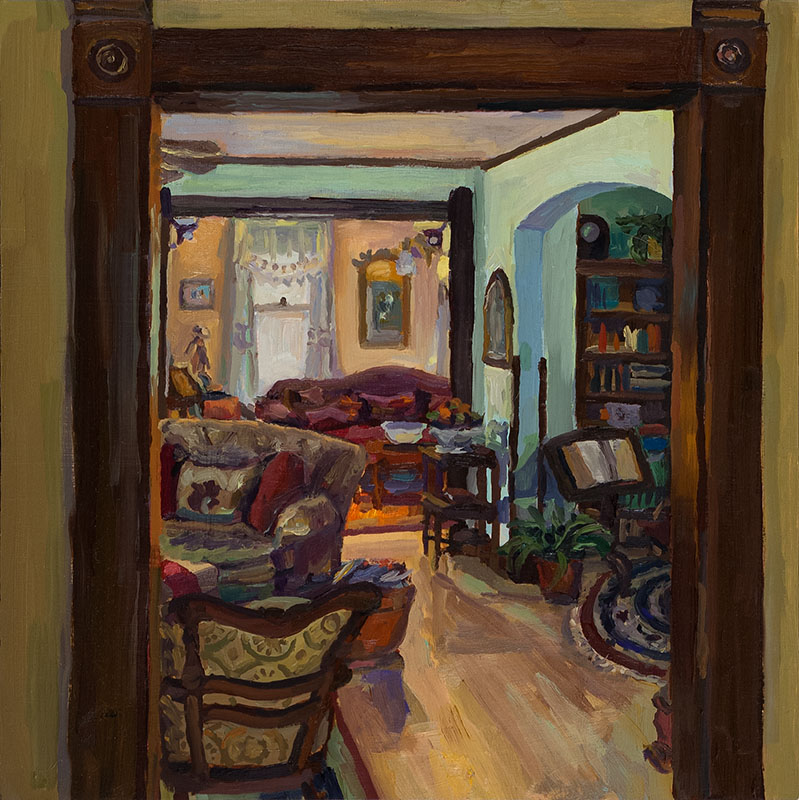 "View from Dining Room, oil on wood, 10"" x 10"", 2013"