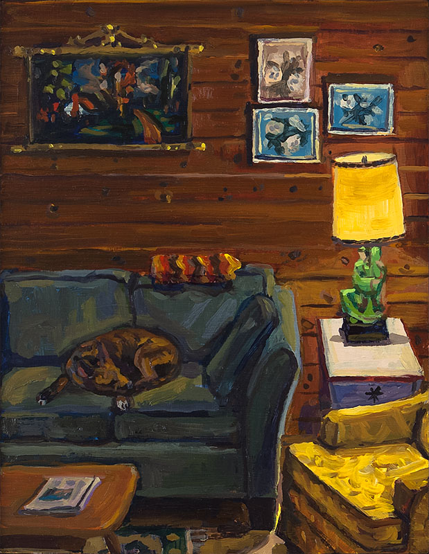 "Cottage Couch, oil on wood, 9"" x 7"", 2014"