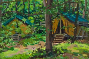 "Camp Black Hawk, oil on wood, 6"" X 7"", 2014"