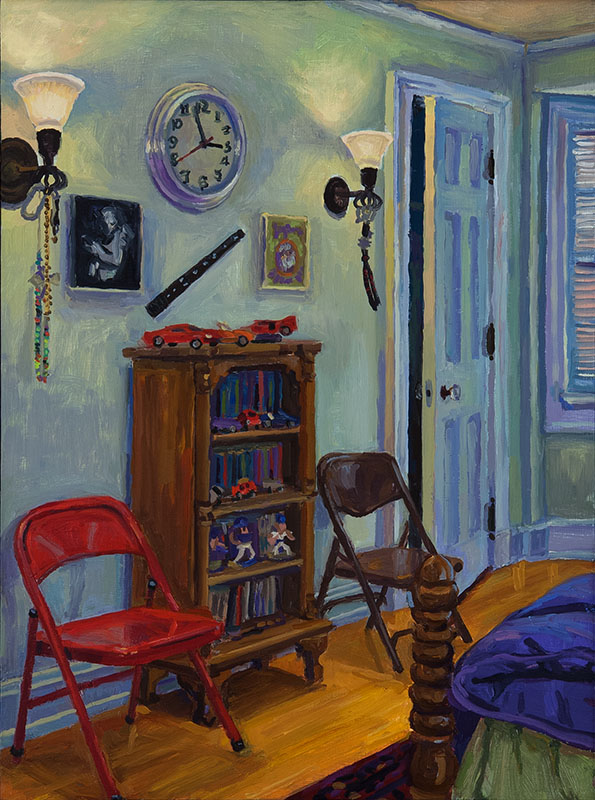 "Bedroom, oil on wood, 12"" x 9"", 2014"