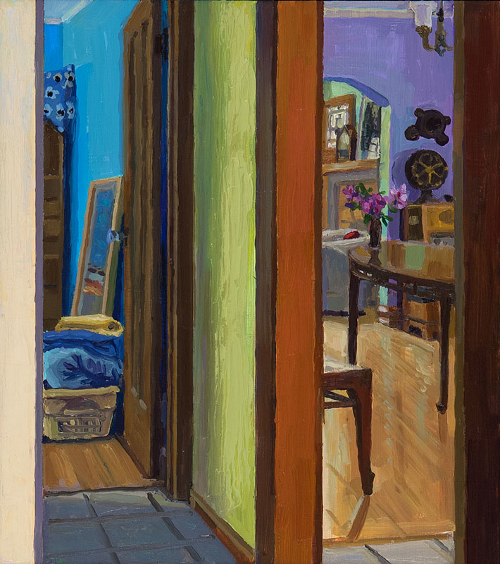 "Bedroom and Dining Room, oil on wood, 9"" x 8"", 2014"