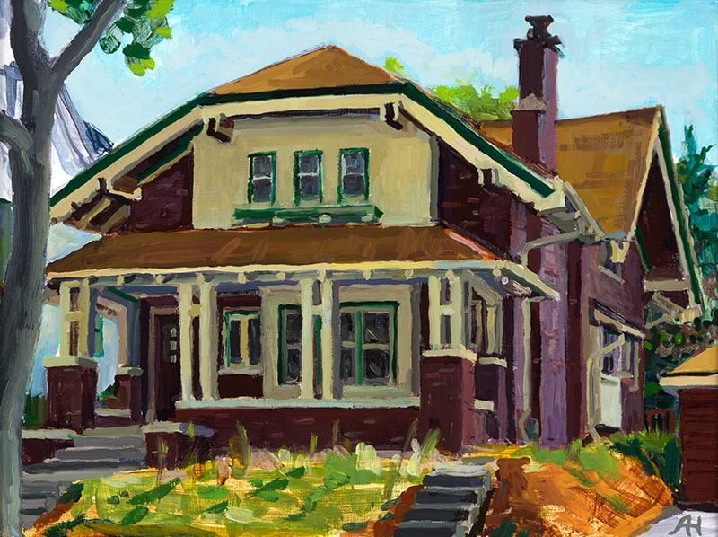 "Eastside Exterior, oil on wood, 6"" x 8"", 2014"