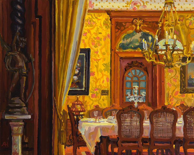 "View of Dining Room from Music Room, oil on wood, 8"" x 10"", 2015"
