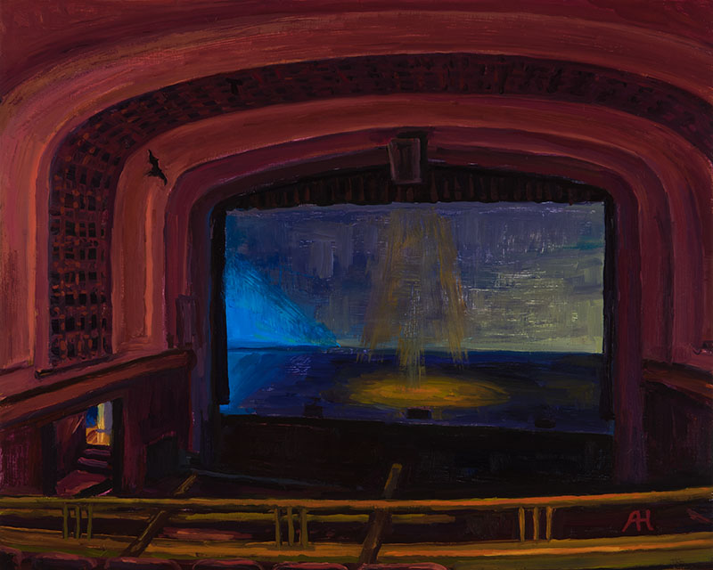 "Shorewood High School Auditorium, oil on wood, 8"" x 10"", 2015"