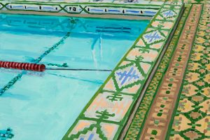 "Shorewood High School Old Pool, oil on wood, 10"" x 8"", 2015"