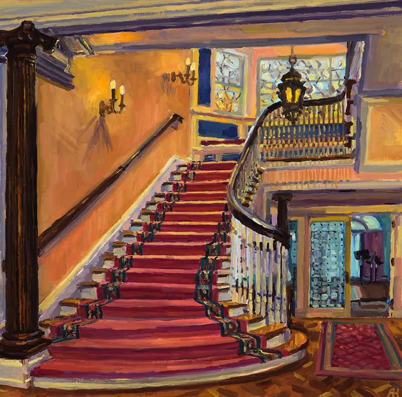 "McIntosh Goodrich Mansion Staircase, oil on wood, 10"" x 10"", 2016"