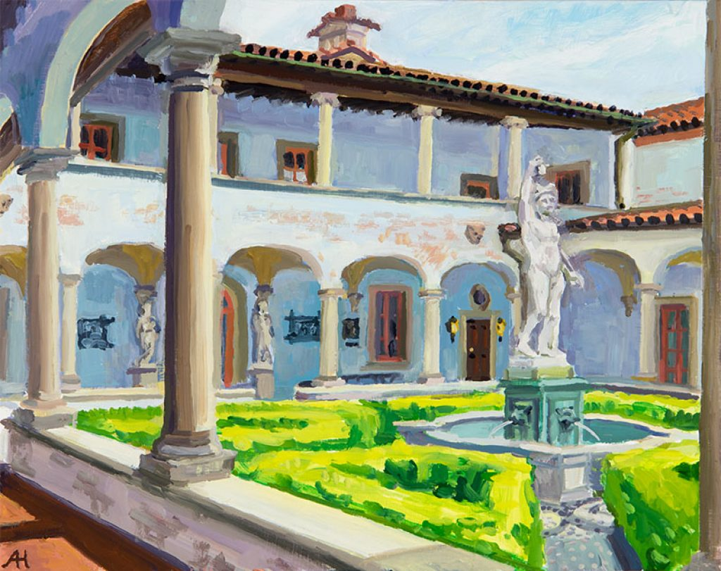 "Mercury Courtyard, oil on wood, 8"" x 10"", 2016"