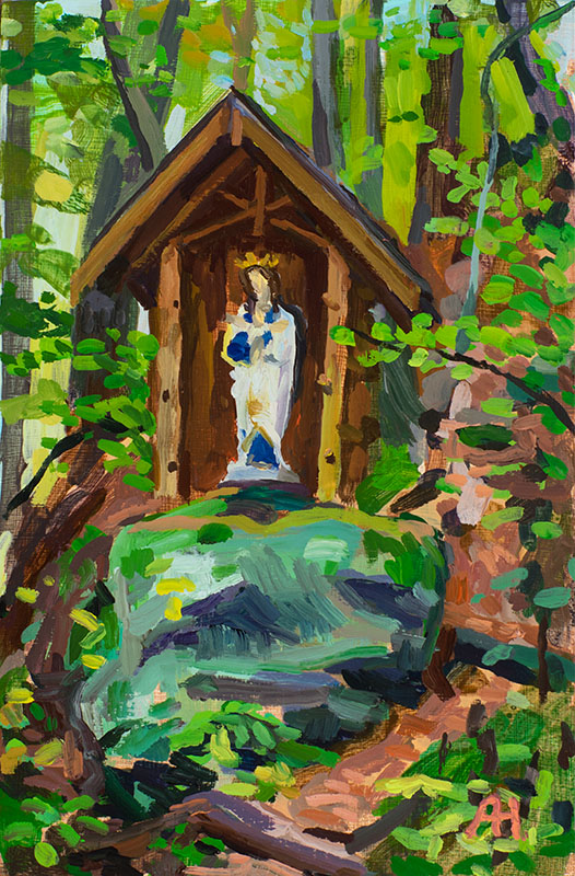 "Guardian of the Glen, Durward's Glen, oil on wood, 5 7/8"" x 3 7/8"", 2016"
