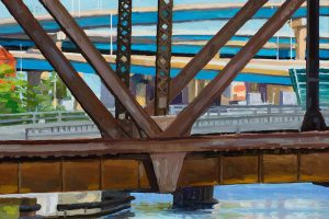 "Swing Bridge, Morning, oil on wood, 7"" x 9"", 2017"