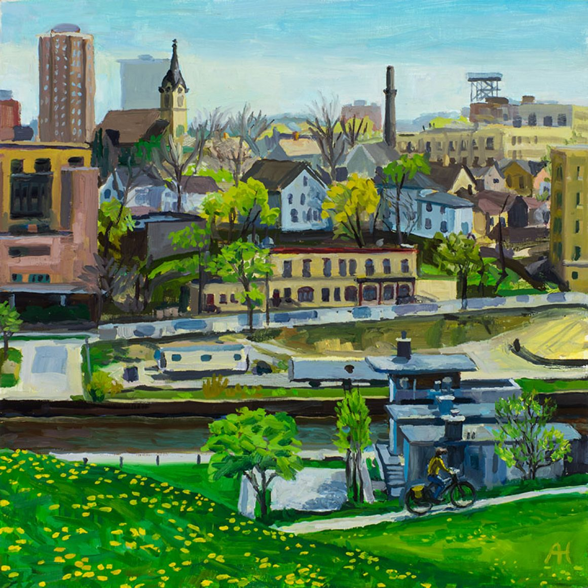 """View from Kadish Park, oil on wood, 10"""" x 10"""""""