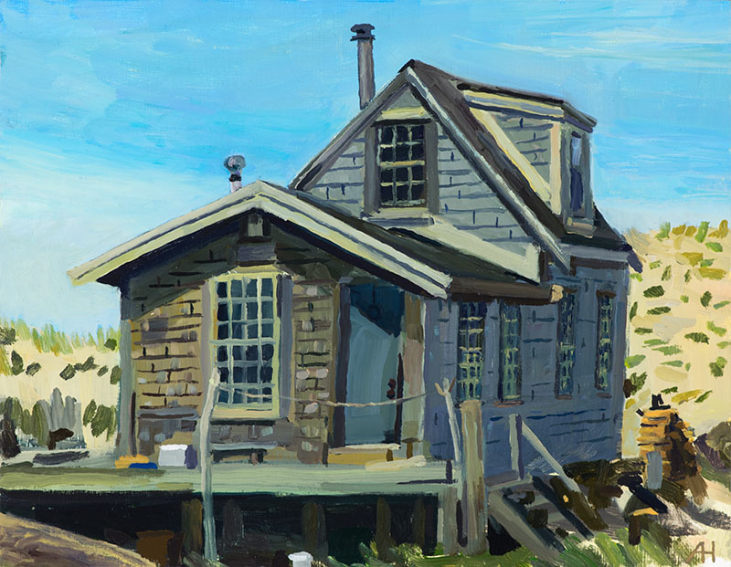 "C-Scape Dune Shack, oil on wood, 7"" x 9"", 2018"