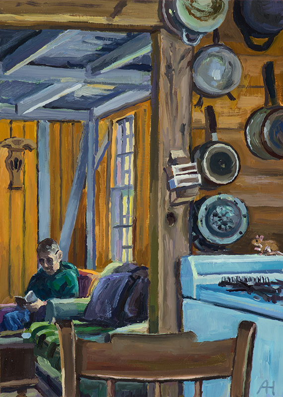 "Inside the Dune Shack, oil on wood, 7"" x 5"", 2018"