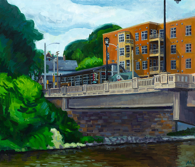 "Milwaukee River at Humboldt Bridge, oil on wood, 12"" x 14"", 2017"