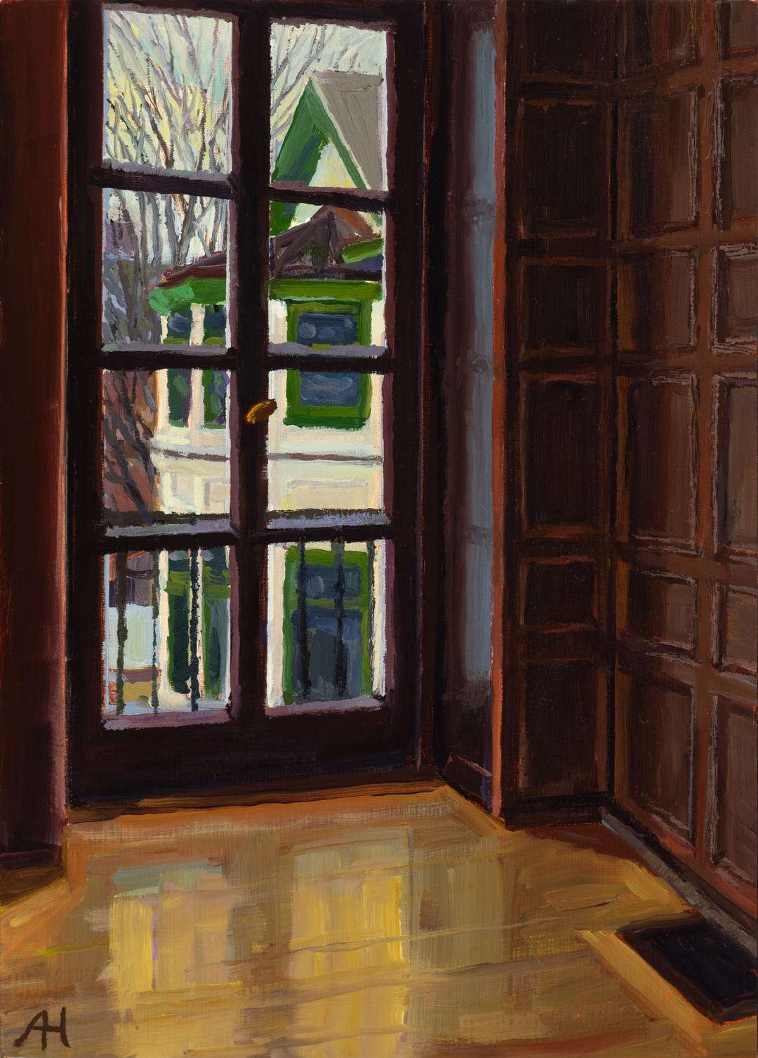 """Dake Gallery View 4, 7"""" x 5"""", oil on wood, 2019"""