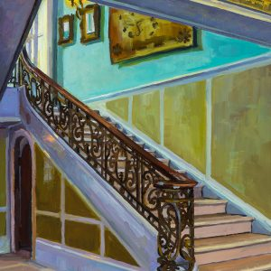 """Marble Staircase View 2, 12"""" x 9"""", oil on wood, 2019"""