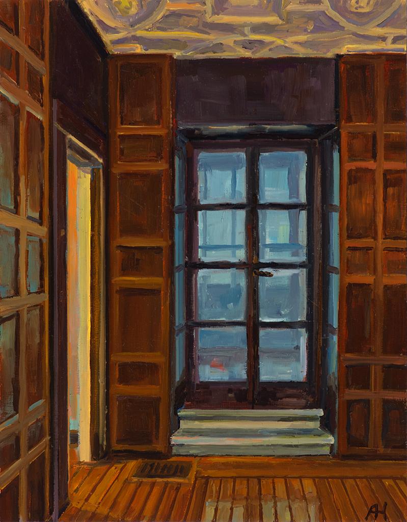 """Dake Gallery View 1, oil on wood, 9"""" x 7"""", 2018"""