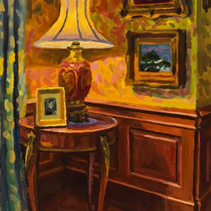 """Corner in French Parlor, oil on wood, 7"""" x 5"""", 2019"""