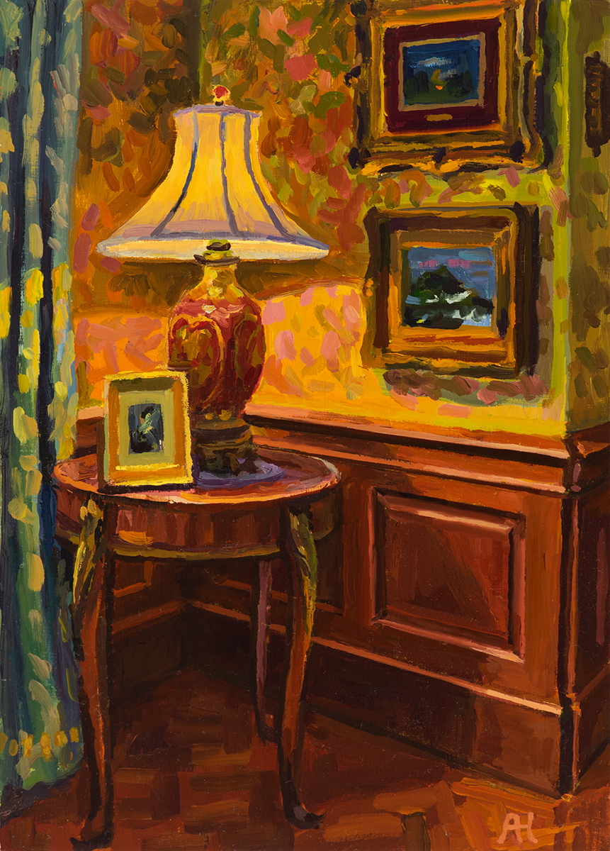 "Corner in French Parlor, oil on wood, 7"" x 5"", 2019"