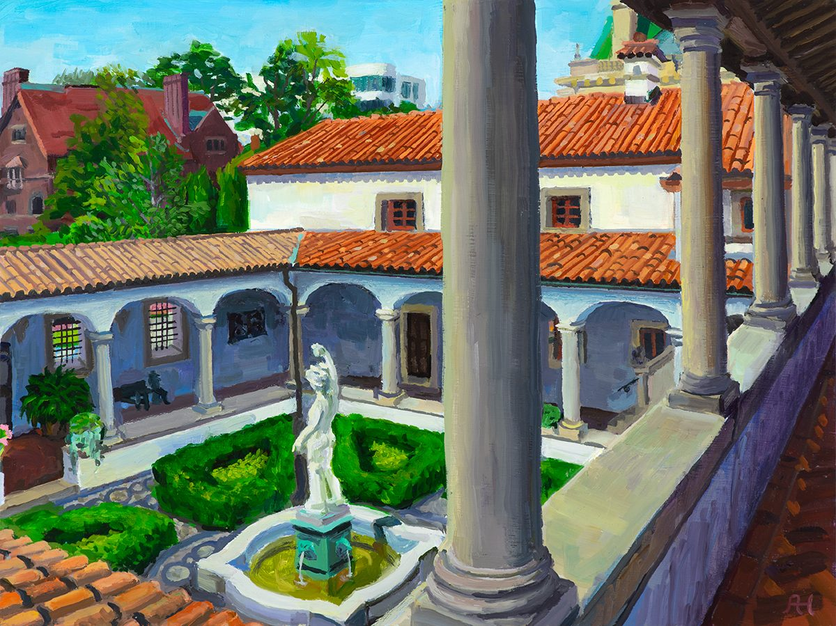 "Mercury Courtyard from Balcony, oil on wood, 9"" x 12"", 2019"