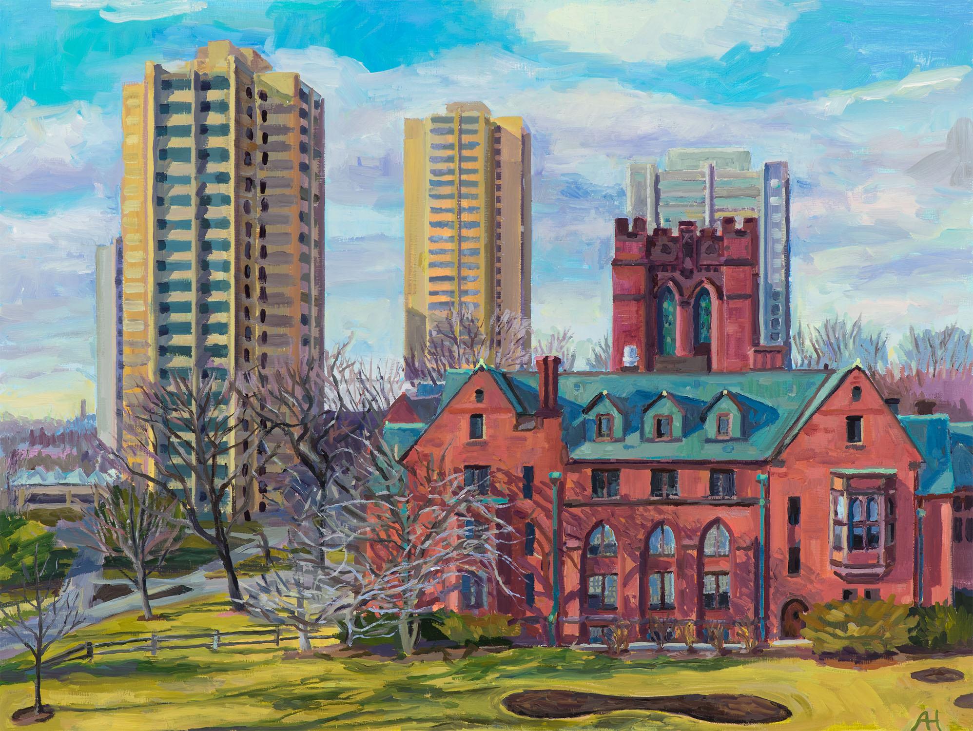 """Chapman Hall and Sandburg Dorms, oil on wood, 12"""" x 16"""", 2020"""