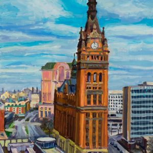 "Milwaukee City Hall, oil on wood, 8"" x 5.5"", 2015"