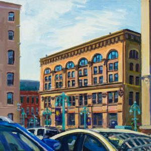 "Baumbach Building, oil on wood, 7"" x 9"", 2016"