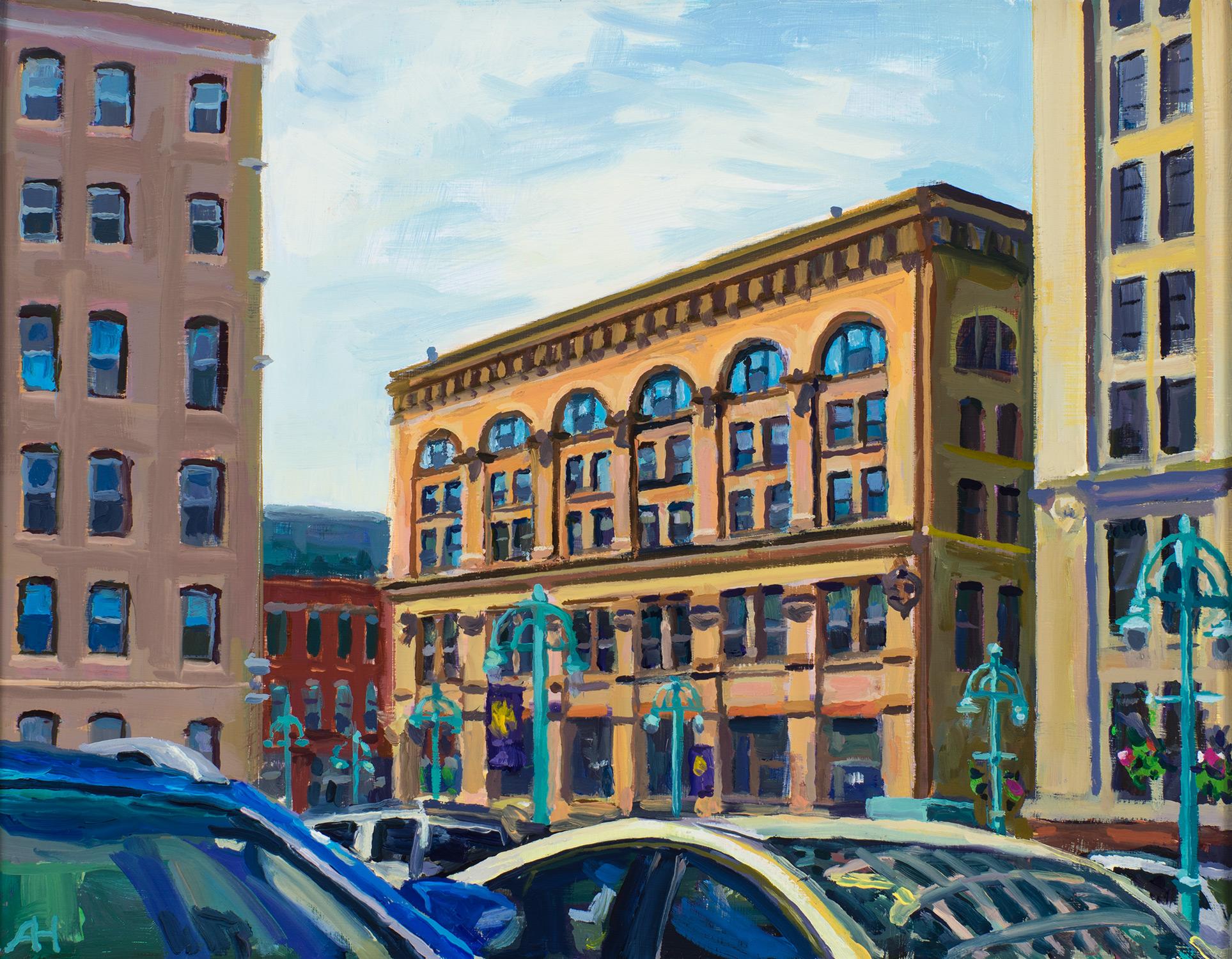 "Baumbach Building, oil on wood, 7"" x 9"", 2016"