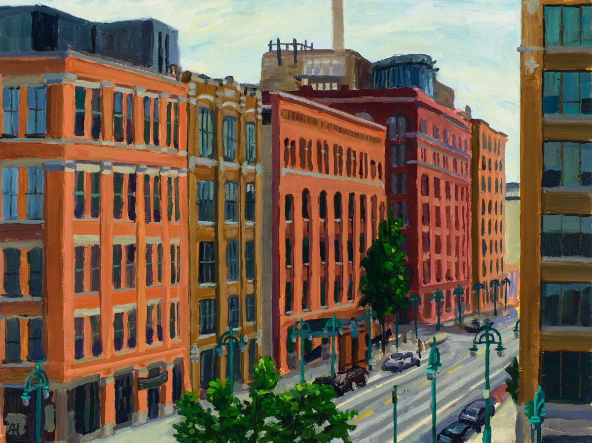"Chicago Street, oil on wood panel, 9"" x 12"", 2017"