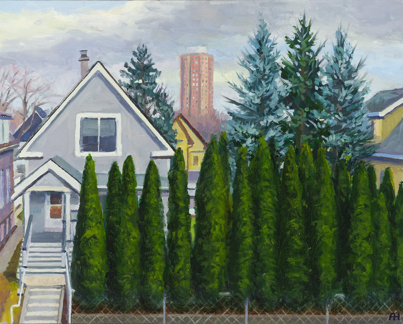 "Neighbors Across the Street, oil on wood, 8"" x 10"", 2020"