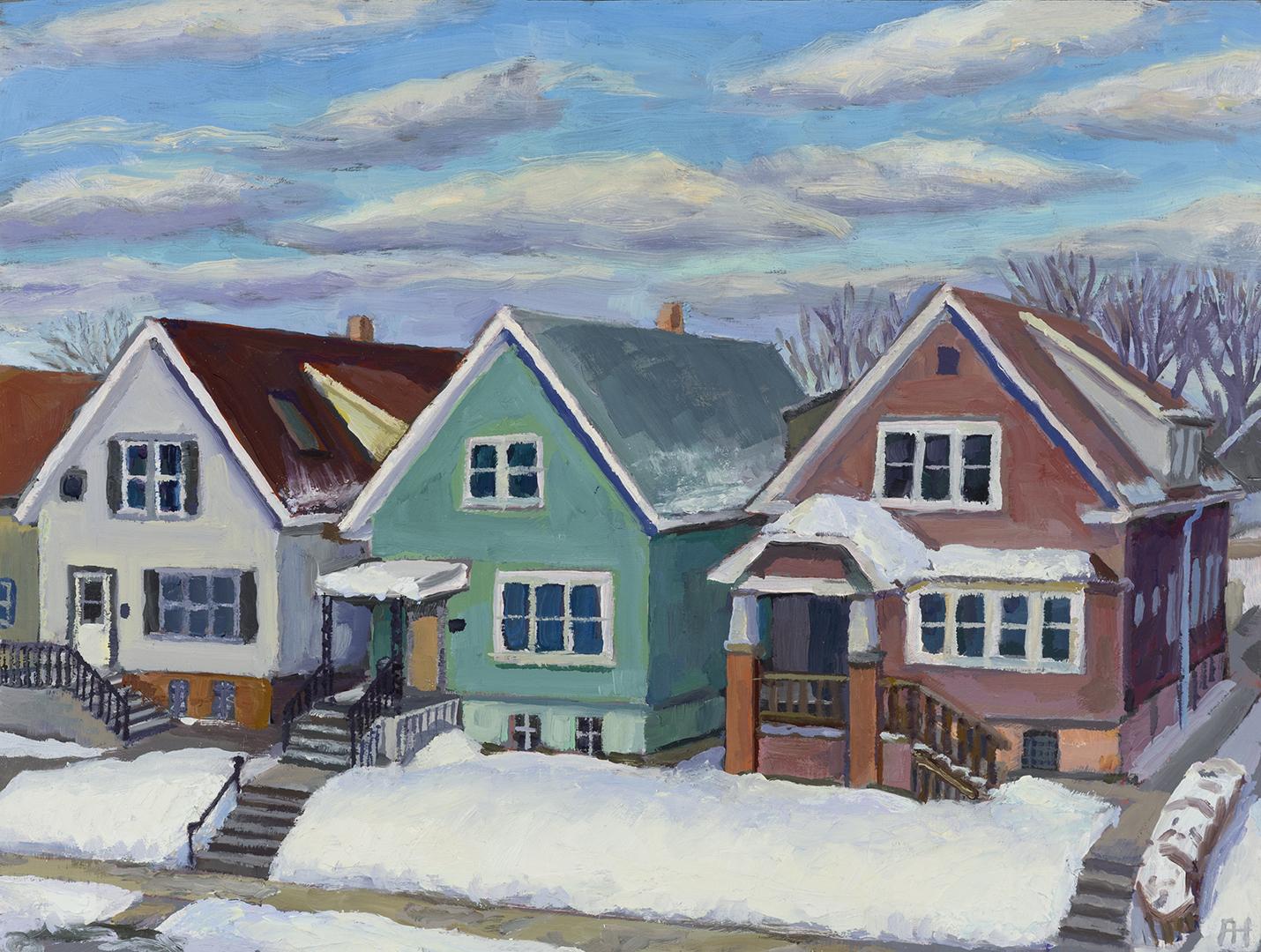 "Neighbors Up the Street, oil on wood, 6"" x 8"", 2021"
