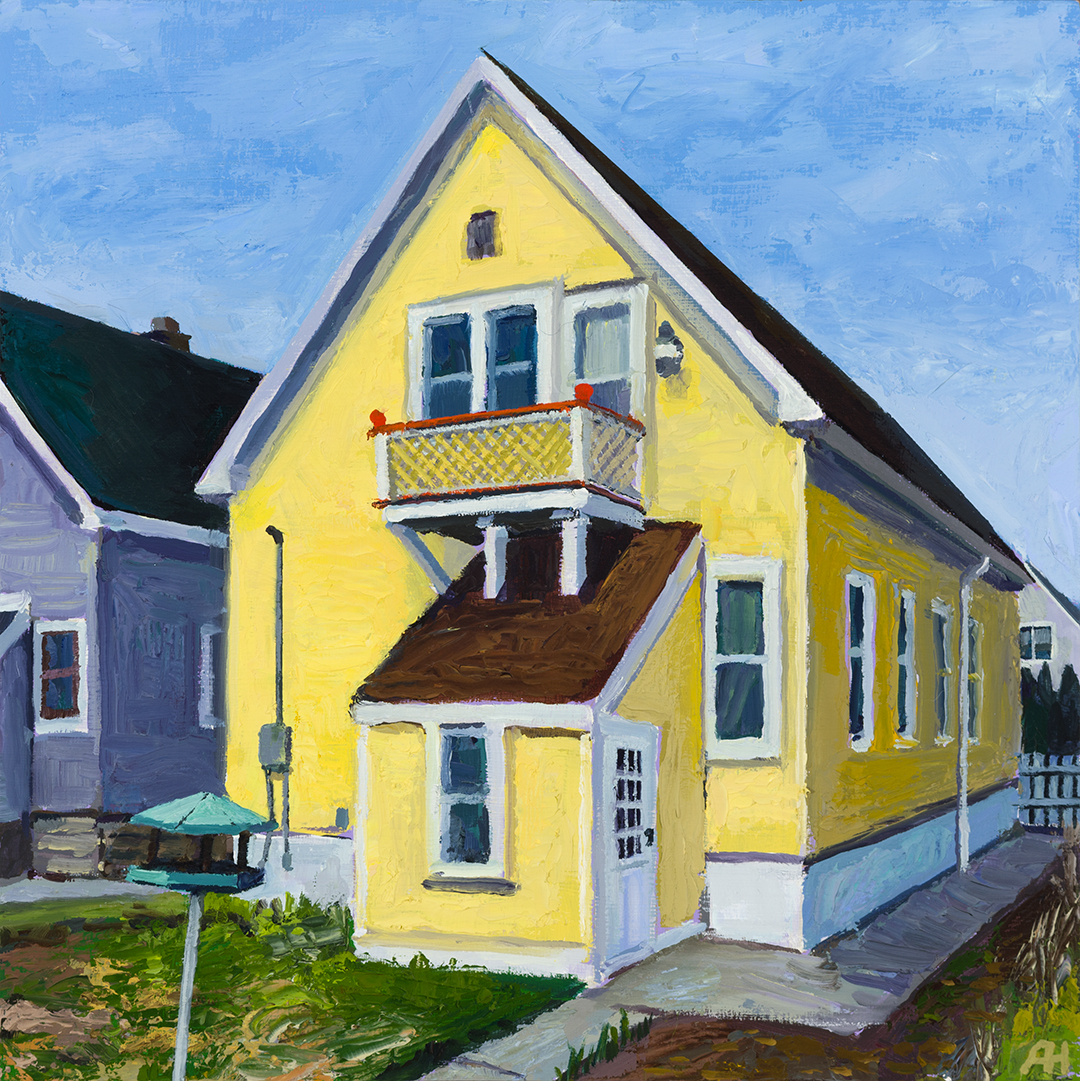 """Our House from the Back, oil on wood, 6 7/8"""" x 6 7/8"""", 2020"""