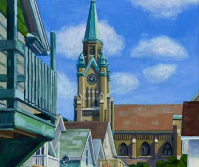 """St. Casimir Our Lady of Divine Providence, View from Paul's Porch Looking North, oil on wood, 14"""" x 11"""", 2020"""