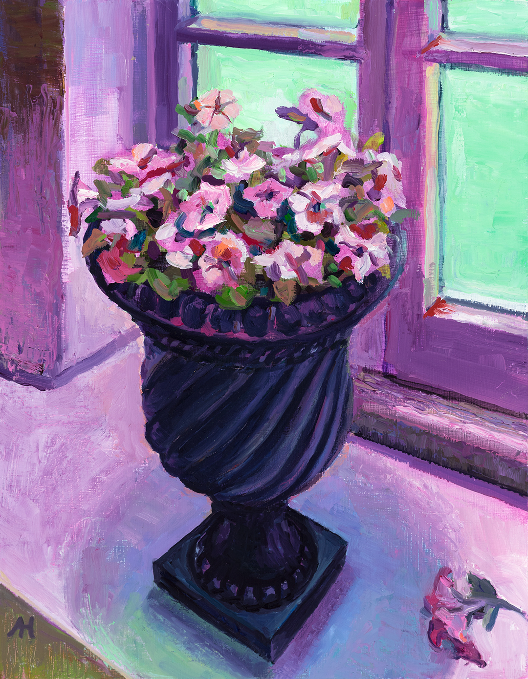 """Marking the End of the Petunia Known as Edunia, oil on wood, 9"""" x 7"""", 2020"""
